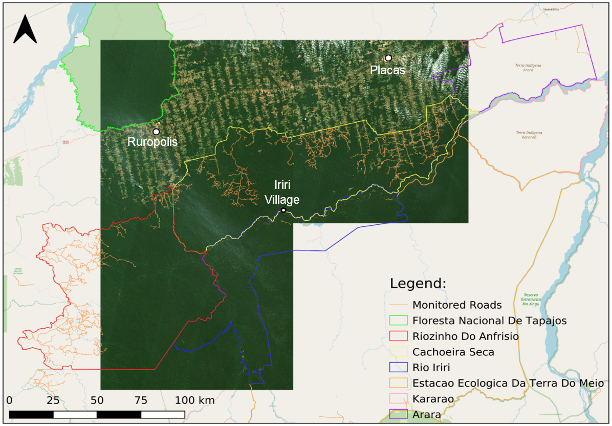 Boundary map displaying the extents of the reserves in the area surrounding the region of interest for this project
