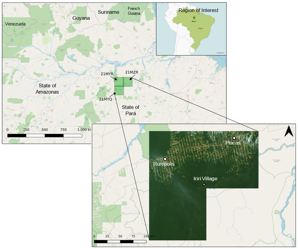 Locality map of the 3 tiles selected for analysis and their location relative to Brazil